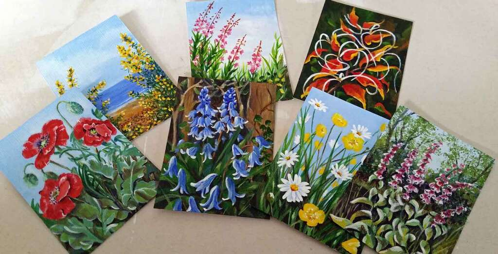 Selection of ACEO or Artist Trading Cards painted by Rosemarie