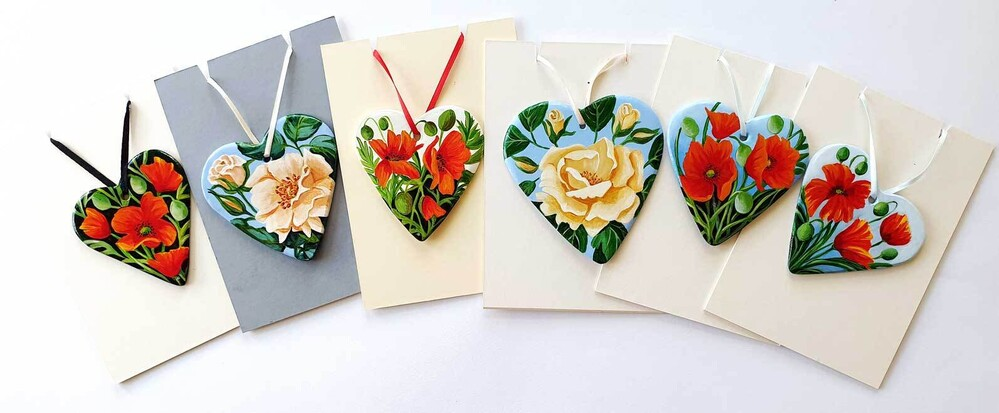 A selection of my floral painted hearts