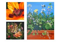 Flowers and butterfly paintings