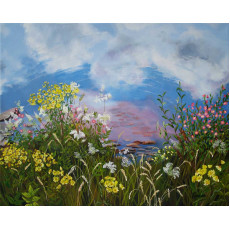 A painting of wildflowers beside a lake reflecting sky and clouds