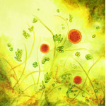Painting of algae forms on a yellow background that resemble a wild meadow