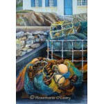 A painting of fishing nets and lobster pots on the quay side of a fishing village
