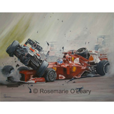 A painting of a grand prix formula one crash of two cars