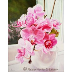 Pink Orchid Painting Signed Print