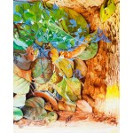 Painting of rich autumn coloured leaves in a birdbath reflecting blue sky